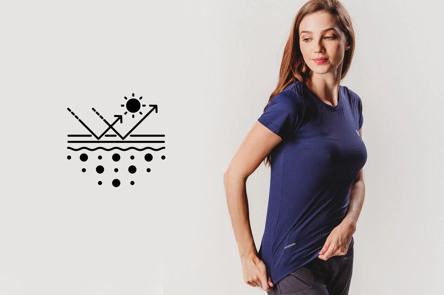 Blusas e camisetas com proteção UV