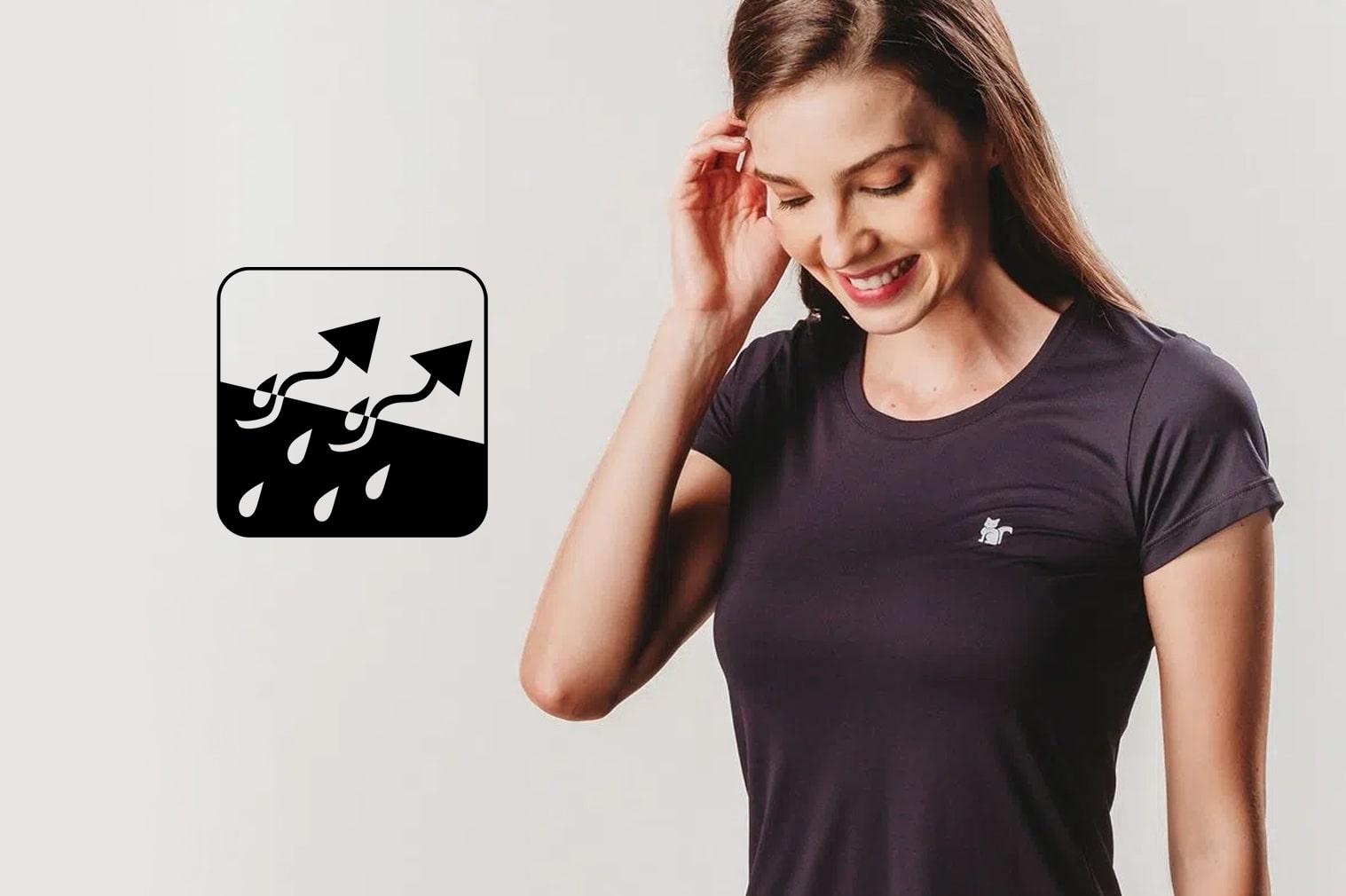Camisetas com evaporação de suor